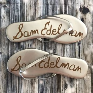 Sam Edelman Silver Flip Flops